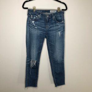 AG Ag-Ed Denim Distressed The Stilt Crop Jeans